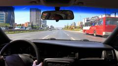 In-city traffic on E5 Road Stock Footage