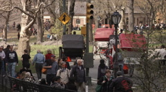 People walking outside Central Park. New York, USA. Stock Footage