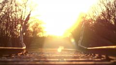 War memorial monument camp westerbork sunset Stock Footage