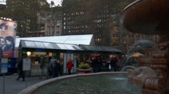 Video of Fountain in Bryant Park During Holiday Season Stock Footage