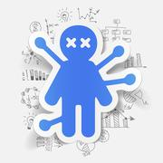 Drawing business formulas: voodoo Doll - stock illustration