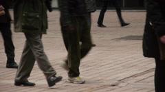 Feet are on the sidewalk Stock Footage