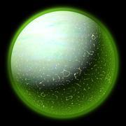 Illustration of a strange planet in space. fantasy planet somewhere in black  Stock Illustration