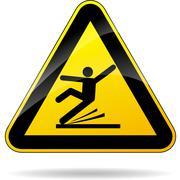 wet floor triangular yellow sign - stock illustration
