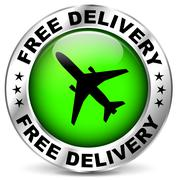 free airplane delivery icon - stock illustration