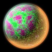 Illustration of a strange planet in space. Fantasy planet somewhere Stock Illustration
