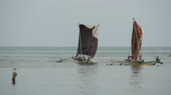 Traditional fishing boat in Negombo, west coast, Sri Lanka Stock Footage