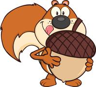 Squirrel Cartoon Character Holding A Big Acorn Stock Illustration
