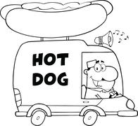 Black And White Happy Hot Dog Vendor Driving Truck Stock Illustration