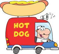 Happy Hot Dog Vendor Driving Truck - stock illustration