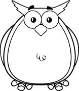 Black And White Owl Cartoon Character - stock illustration