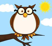 Wise Owl On Tree Cartoon Character - stock illustration