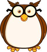 Wise Owl Teacher Cartoon Character With Glasses Stock Illustration
