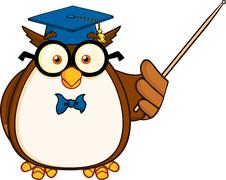 Wise Owl Teacher Cartoon Mascot Character With A Pointer - stock illustration