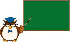 Wise Owl Teacher Cartoon Character In Front Of School Chalk Board - stock illustration