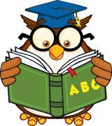 Wise Owl Teacher Cartoon Mascot Character Reading A ABC Book - stock illustration