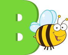 Funny Cartoon Alphabet-B With Bee Stock Illustration
