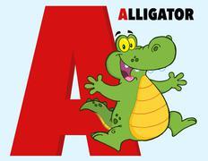 Funny Cartoon Alphabet-A With Alligator Stock Illustration