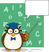 Wise Owl Teacher Cartoon Character With A Speech Bubble - stock illustration