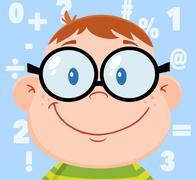 Smiling Geek Boy Head With Background And Numbers - stock illustration