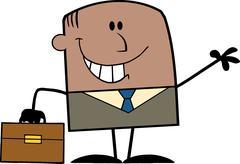 African American Businessman Cartoon Character Waving - stock illustration