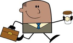 Lucky African American Businessman Running To Work With Briefcase And Coffee - stock illustration