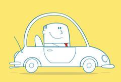 Businessman Driving Car To Work Monochrome Cartoon Character - stock illustration