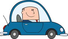 Businessman Driving Car To Work Cartoon Character - stock illustration