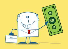 Lucky Businessman With Briefcase Holding A Dollar Bill Monochrome Stock Illustration