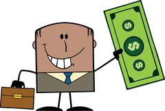 Lucky African American Businessman With Briefcase Holding A Dollar Bill Stock Illustration