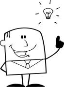 Black And White Businessman With A Bright Idea Stock Illustration