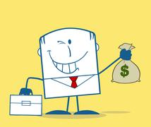 Winking Businessman Holding A Money Bag Monochrome - stock illustration