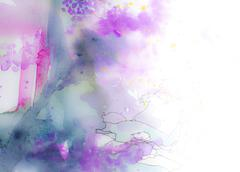 Colorful pink blue and purple watercolor background or margin - stock photo