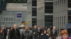 paris LaDefance business center, crowds of people hurry in matters - stock footage