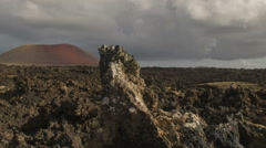 Volcanic Landscape on the Island of Lanzarote Stock Footage
