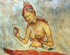 Fresco of unknown author in Sigiriya Stock Photos
