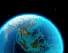 Asia continent from outer space - stock illustration