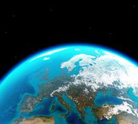 Continental Europe viewed from outer space Stock Illustration