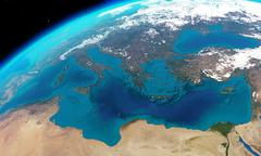 Mediterranean sea viewed from space - stock illustration