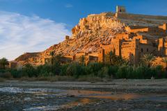 Ait Benhaddou Ksar Kasbah, Morocco, Africa, in sunset - stock photo