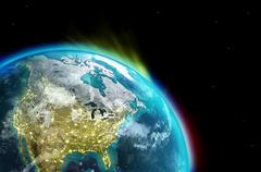 North America continent along  with city lights from outer space. - stock illustration