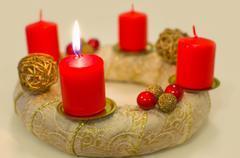 lighted golden advent wreath - stock photo