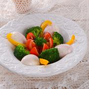 Marbled eggs with vegetables Stock Photos
