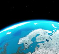 Scandinavia viewed from outer space Piirros