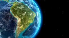 Stock Illustration of South America continent along  with city lights from outer space