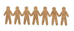 team of burlap people on white background - stock photo