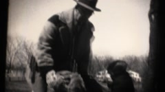1930's family on estate, Great Danes Stock Footage