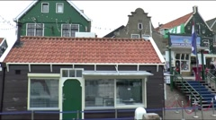 Houses and shops along the dike Stock Footage