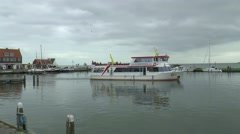 Ferry leaving the harbor Stock Footage