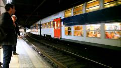 Double decker train Notre Dame station, France Stock Footage